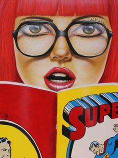 HUGE BIG EYE POP ART GICLEE___SUPER READ____S.ROHLFS...1st Superman comic