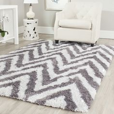 Safavieh Handmade Shag Ivory/ Grey Acrylic Rug (10' x 14') | Overstock™ Shopping - Great Deals on Safavieh 7x9 - 10x14 Rugs
