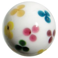 """Glass """"Daisy"""" Marble - 22 mm - Handmade Art Glass by House of Marbles Comes with a ring style, stainless steel, display stand. Impressive in detail & beautiful to behold. This .875 inch shooter marble"""