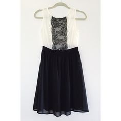 HOST PICK! Black & White Lace Chiffon Dress Black and white chiffon dress with lace detail at front. Great material and in amazing condition. Worn only once.  Offers welcome.  No trades.  Bundle for discount. Soprano Dresses
