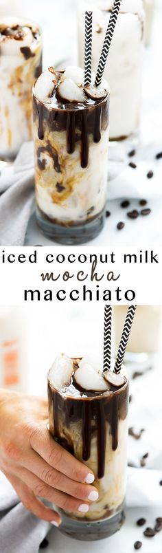Iced Coconut Milk Mocha Macchiato is just how I want to start each day or give my afternoon a java jolt! Creamy coconut milk swirled with rich chocolate and topped with espresso. So fancy you will be calling yourself a barista!