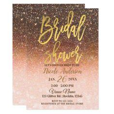 Autumn Glitter Sparkle Gold Foil Bridal Shower Card - glitter glamour brilliance sparkle design idea diy elegant