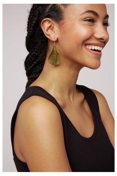 Hand made and Fair Trade brass curled leaf earrings. Nickel free and made from brass. Made by Bombolulu, Fair Trade social business in Kenya that Leaf Earrings, Dangle Earrings, Growing Cotton, Fair Trade Fashion, Handmade Design, Vegan, Messing, Beautiful Hands, New Outfits