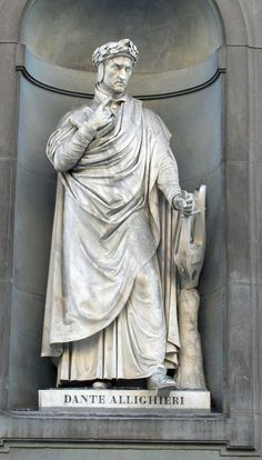 Statue of Dante Alighieri in the facade of the Uffizi Gallery, Florence