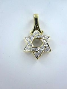 Vintage 14kt Yellow Gold Pendant Star Of David Israel Religious Charm Jewish Diamonds Jewelry