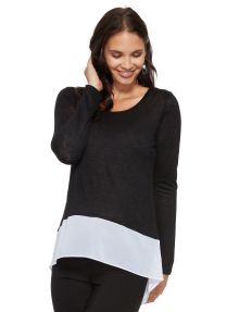 Izabel London Long-Sleeve Top With Contrast Hem product photo