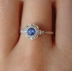 Art Deco Cornflower Blue Sapphire & Diamond Engagement Ring, Antique Sapphire Platinum and 18k Gold Ring, Approximate Size US 6.75 / 7. $685.00, via Etsy.