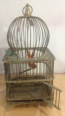 """Vintage Very Rare 21"""" Tall Heavy Solid Brass Domed Bird Cage Swing & Food Bowls"""