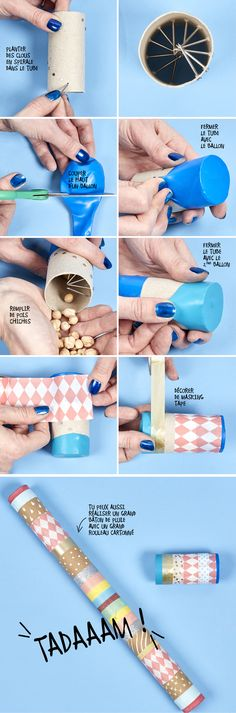 Quelques clous, du making tape, un rouleau cartonné et c'est parti pour fabri… Projects For Kids, Diy For Kids, Crafts For Kids, Diy Crafts, Instrument Craft, Homemade Musical Instruments, Music Instruments, Rain Sticks, Music And Movement