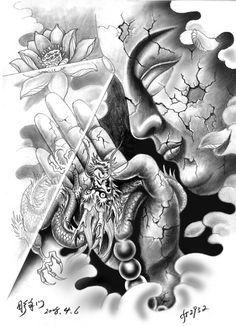 hong kong tattoo temple warrior drawing - Google Search