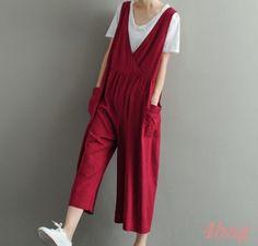 Womens Loose Linen Cotton Jumpsuits Overalls Suspender Trousers Wdie Leg Pants