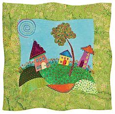 Freebie from C Publishing: Whimsical quilt pattern by Laura Wasilowski, an applique/hand embroidery project from her book Fanciful Stitches, Colorful Quilts.