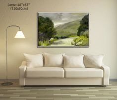 Peaceful green landscape by Miri Lavee. The various green colors combination create a calming & optimistic ambiance. For the painting in my Etsy shop, Click on the photo or copy the link: https://www.etsy.com/MiriLaveeArt/listing/480780719/listing Also available as a fine art print here: https://www.etsy.com/MiriLaveeArt/listing/481342111/listing #mirilavee #modernwallart #largewallart #originaloilpainting