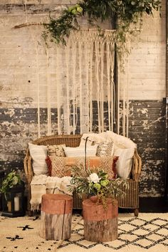 The Simply Elegant Group - 2015 Styled For Good Event - Pop-Up Shoppe featuring Hackwith Design House, SBG Designs, and Ila Handbags. Styling and Rentals by On Solid Ground Vintage Rentals. Photo by Ashley Elwill Boho chic style, sitting area, backdrop, knots