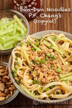 Dan-Dan Noodles (Mein) P.F. Chang's Copycat Recipe ~ These Dan-Dan Noodles are the real deal. Easy, inexpensive, and better than ordering out. These noodles are healthy and taste extraordinary.