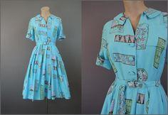 Vintage Dress Novelty Print Full Skirt, 35 bust, Turquoise Oriental Print Cotton, 1960s Shirtwaist Dress by dandelionvintage on Etsy