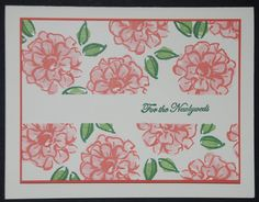 For The Newlyweds Flower Card-Stamps: What I Love, Teeny Tiny Wishes Paper: Very Vanilla, Calypso Coral Paper Size: 4 1/4 x 5 1/2 Ink: • Very Vanilla card stock (101650): 5 1/2 x 8 1/2 - fold  &  3 1/2 x 4 3/4 • Calypso Coral card stock (122925): 3 5/8 x 4 7/8 Calypso Coral, Blushing Bride, Pink Pirouette, Garden Green, Wild Wasabi  Read more: http://www.splitcoaststampers.com/gallery/photo/2696244#ixzz428dRdtvP