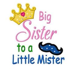 Big Sister to a Little Mister Applique - 3 Sizes! | What's New | Machine Embroidery Designs | SWAKembroidery.com Dollar Applique
