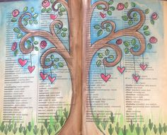 Watercolor tree on book page