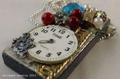 Time Mix Media Collage Repurposed Broken Jewelry Statement Pendant Necklace. $42.00, via Etsy.