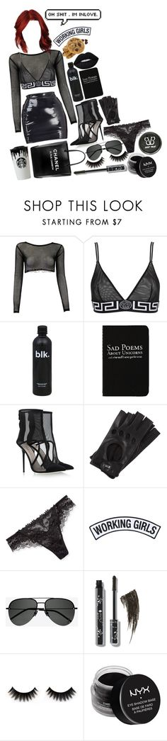 """Leather In Fire!"" by isabeldizovadoll ❤ liked on Polyvore featuring Versace, Chanel, Rich and Damned, Giannico, Roeckl, Band of Outsiders, Lise Charmel, Working Girls, Yves Saint Laurent and NYX"