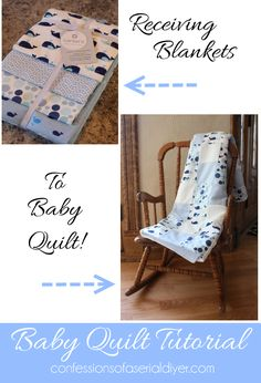 Receiving Blanket Quilt: All the fabrics in a pack of receiving blankets are perfectly coordinated to make a darling baby quilt! Baby Sewing Projects, Sewing For Kids, Sewing Hacks, Sewing Crafts, Quilt Baby, Quilting Tutorials, Quilting Projects, Diy Pour Enfants, Couture Bb