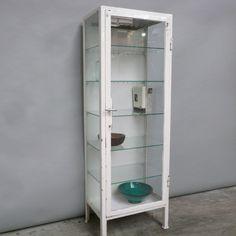 Vintage Metal Dental Industrial Medical Apothecary Cabinet