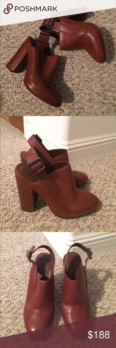 BNWOT Vince ankle strap brown mule booties Brand new without tags Vince brown ankle strap mule booties. Genuine leather. Vince Shoes Mules & Clogs