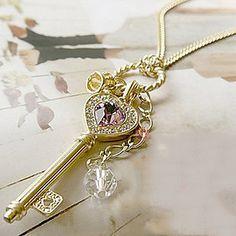 kvinders hjerte guldkrone krystal halskæde - DKK kr. 7