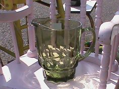 Vintage Green Glass Pitcher by RetroRevolutions on Etsy, $16.95