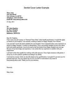 cover letter example dentists letters best ideas about examples pinterest