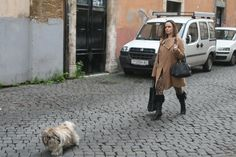 Italian women remain well-dressed and put together, even during the coldest winter days. #winterinRome #puppy #fashionable #confidence
