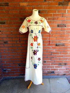 023e79a73c1 Vintage 70s Mexican Dress Embroidered Oaxaca Maxi Caftan Dress Sz Small