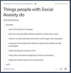 Ok so apparently I have social anxiety cause I have literally done every one of these things multiple times Anxiety Causes, Stress And Anxiety, Health Anxiety, Do I Have Anxiety, Anxiety Facts, Social Anxiety Quotes, Social Anxiety Disorder, Mental Disorders, Writing Tips