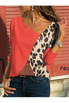 Asymmetric Neck Patchwork Contrast Stitching Color Block Long Sleeve t shirt outfit t shirts outfit summer t shirts outfit casual t shirts outfit dressy t shirts outfit jeans and Mode Outfits, Fashion Outfits, Womens Fashion, Trendy Fashion, Casual T Shirts, Casual Outfits, Shirt Diy, Cream T Shirts, Blouse Styles