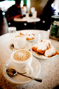 Coffee and beignets. Louisiana delights!