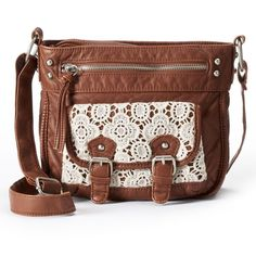 This Mudd crossbody bag has buckle accents, lace trim and gold-tone hardware. In brown. Fashion Handbags, Purses And Handbags, Leather Handbags, Brown Handbags, Leather Bags, Brown Crossbody Purse, Crossbody Shoulder Bag, Shoulder Bags, Lace Purse