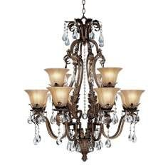 """Iron Leaf 34"""" Wide Bronze and Crystal Chandelier"""