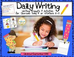 Writing: Daily Writing Promts & Activities for Daily 5, Journals or Stations Updated Version from Sunshine and Lollipops on TeachersNotebook.com - - Writing prompts, Anchor Charts, and Picture word cards to use with for K, 1 and 2 for Daily 5, Journal writing or Stations.