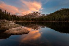 Bear Lake, Rocky Mountain National Park, Colorado, Sunset, Mountains, Cloudy, RMNP, Metal, Acrylic, Canvas, Print, Landscape Photography by ScenicScapeDesigns on Etsy