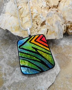 Zentangle Pendant Dichroic Jewelry Dichroic Pendant by GlassCat
