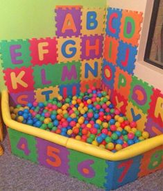 Interlocking Letter Foam Tile Play Mats Let You DIY a Mini Kids Ball Pit - ABC foam tiles ball pit - letters jigsaw puzzle piece pads<br> Method Ikea, Baby Play Areas, Kids Play Area, Toddler Playroom, Playroom Ideas, Playroom Design, Toddler Boy Room Ideas, Bookshelves Kids, Bookshelf Diy