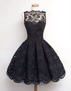 Pretty lace short prom dresses,A-line black lace homecoming dress,red dress,fashion dress for girls