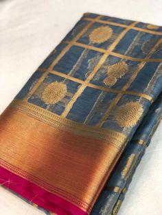Unique Colelction of Kancheepuram Handloom Style with Orgenza Silk Grey Color Sarees Raw Silk Saree, Silk Cotton Sarees, Cotton Silk, Maroon Color, Pink Color, Gray Color, Sari Fabric, Woven Fabric, Uppada Pattu Sarees