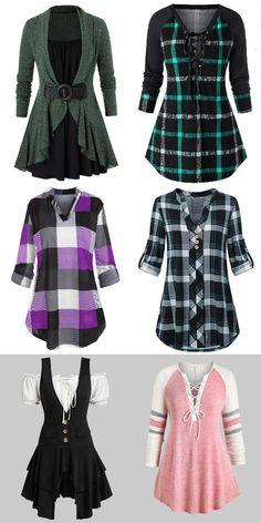 Rosegal plus size tops Women fashion blouse t-shirts - Women Plus Size Shirts - Ideas of Women Plus Size Shirts Plus Size Crop Tops, Plus Size Blouses, Girl Outfits, Cute Outfits, Fashion Outfits, Blouse Styles, Teenager, Fashion Women, Fashion Brand