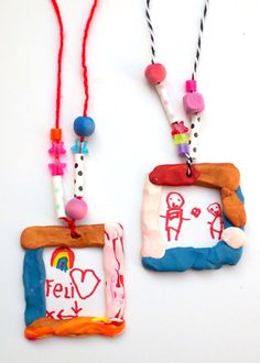 Clay Crafts for Kids Portrait Necklaces is part of Kids Crafts Clay Beads - These portrait necklaces are one of those crafts for kids that the whole family will love making! Pick your favorite colors of clay, beads, and yarn Clay Projects For Kids, Clay Crafts For Kids, Fun Projects, Diy For Kids, Arts And Crafts, Sculpey Clay, Polymer Clay Crafts, Candy Crafts, E Mc2
