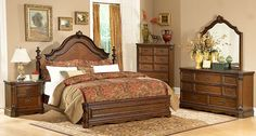 Homelegance Montrose Mansion Bedroom Set in Brown Cherry Cheap Bedroom Furniture, Dining Room Furniture, Luxury Furniture, Home Furniture, Furniture Design, Hickory Furniture, Master Bedroom Set, Bedroom Sets, Home Bedroom