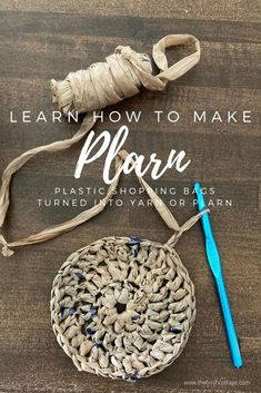 "Turn plastic shopping bags into crochet yarn with this easy ""plarn"" tutorial and crochet coaster pattern from The Birch Cottage"