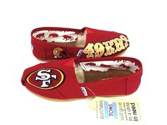 ***About the Shoes***  100 % authentic TOMS. This pair one of the kind San Francisco 49ERS TOMS is made to order.  TOMS run true to size but it will