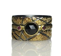 Pebble Texture Stacking Rings by Jenny Reeves: Gold, Silver, & Stone Ring available at www.artfulhome.com